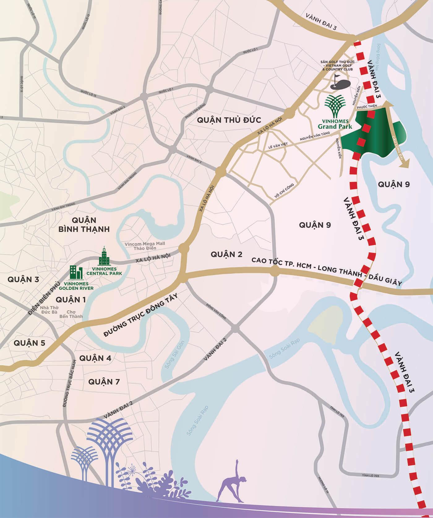 Bản đồ vị trí dự án Vinhomes Grand Park Quận 9