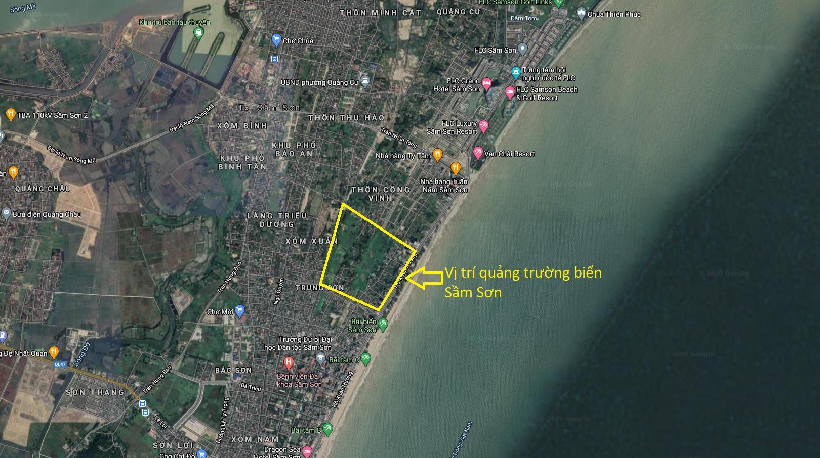 Vị trí quảng trường biển Sầm Sơn