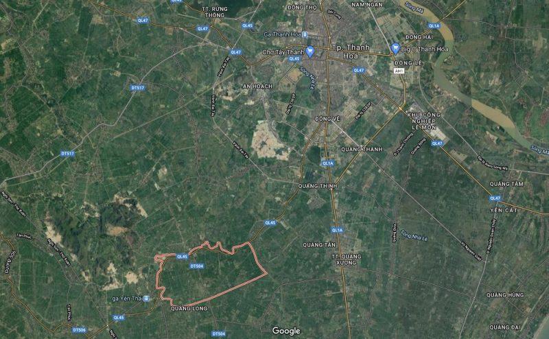 Vị trí xã Quảng Yên, nơi phát hiện ra nguồn khoáng nóng tại Thanh Hóa
