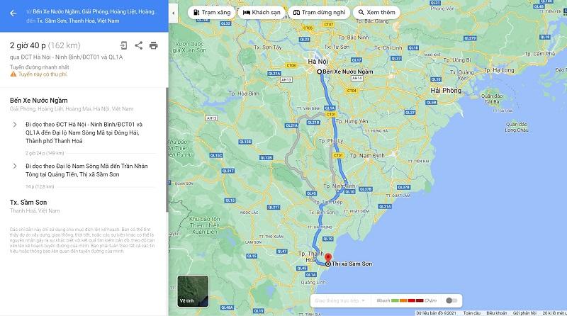 Biển Sầm Sơn cách TP Hà Nội 160km và di chuyển chưa đến 3 giờ đồng hồ