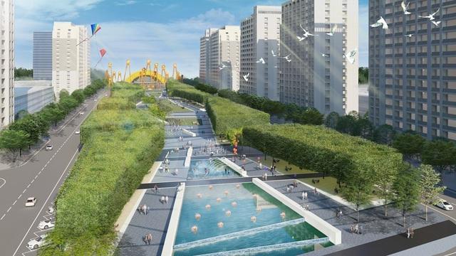 Công viên mini ngay trung tâm đại lộ Sun Grand Boulevard rộng 110m