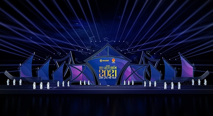 Phối cảnh dự kiến sân khấu đêm khai mạc lễ hội du lịch biển Sầm Sơn.