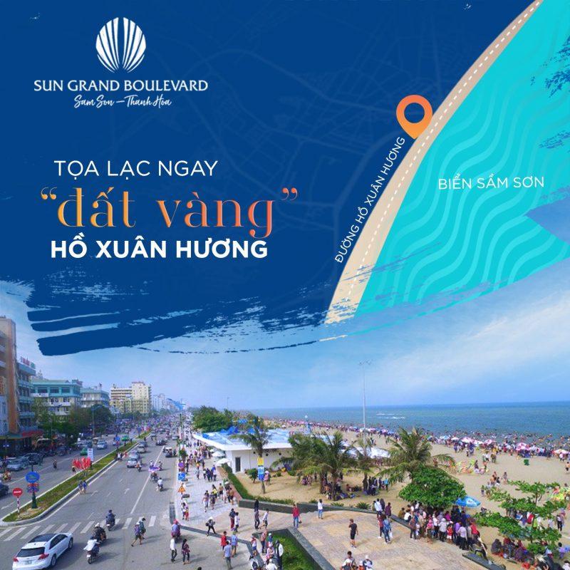 Sun Grand Boulevard với quảng trường nằm sát đường Hồ Xuân Hương