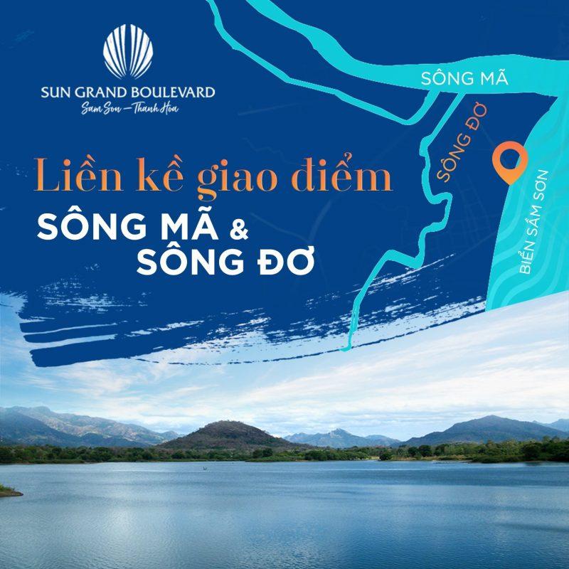Dự án nằm bao quanh Sông Mã & Sông Đơ là 2 dòng sông lớn bậc nhất tại Sầm Sơn