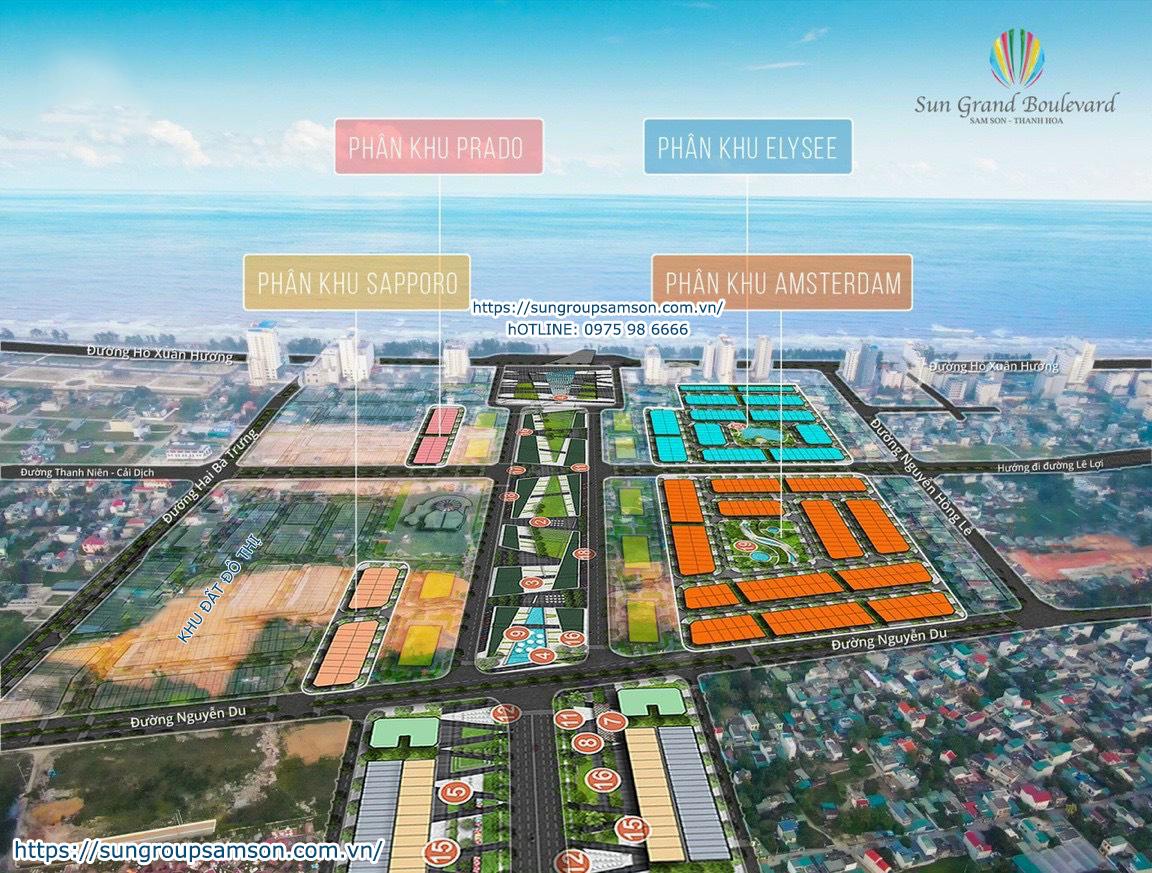 Minh họa các tiểu khu của dự án Sun Grand Boulevard