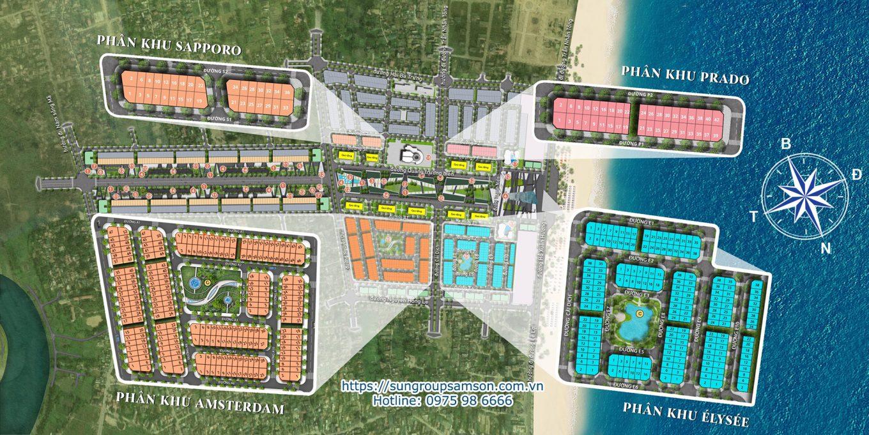 Tổng mặt bằng 4 tiểu khu của dự án Sun Grand Boulevard Sầm Sơn với 4 phân khu Shophouse thấp tầng và 1 phân khu Boutique Hotel cao tầng
