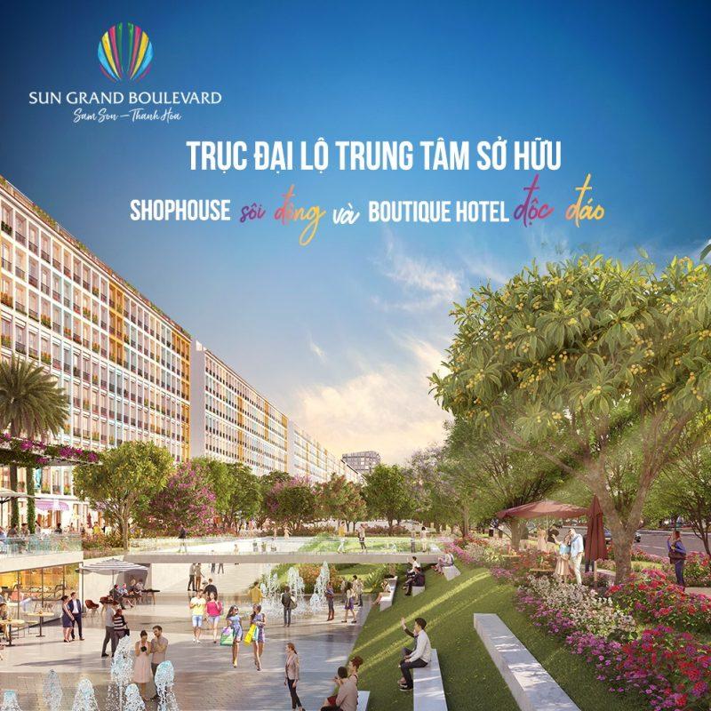 Đại lộ rộng 120m sẽ là điểm nhấn lớn nhất của dự án Sun Grand Boulevard
