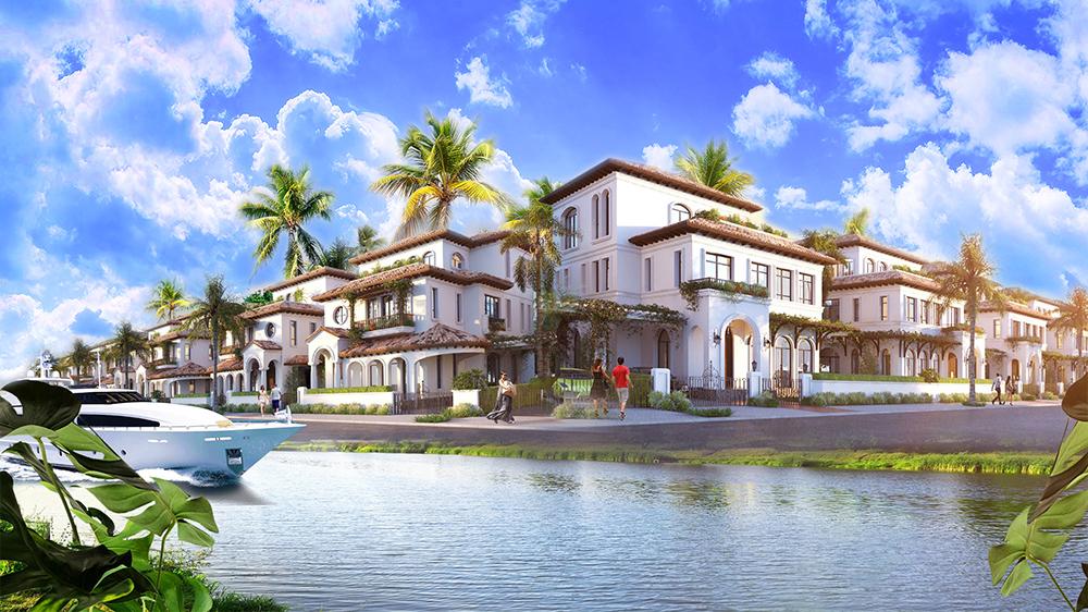 Phối cảnh một góc biệt thự ven sông Đơ tại dự án Sun Sầm Sơn